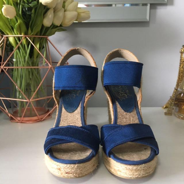 Nine West Women's Blue Wedges Size 7