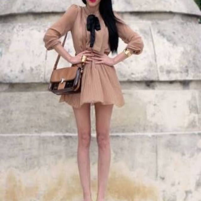 Nude Chiffon Dress