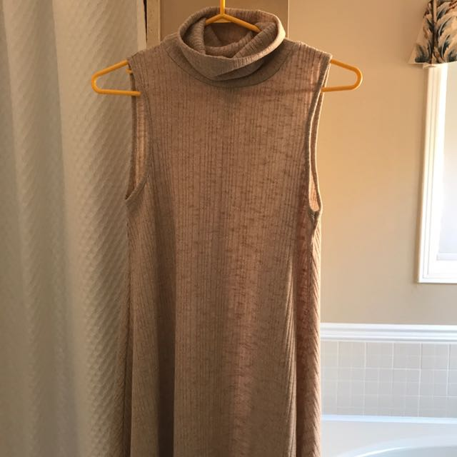 nude ribbed turtleneck dress