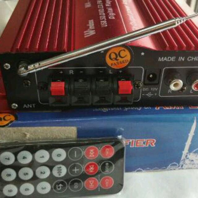 Power Amplifier USB, SD Card, FM Radio DC 12V