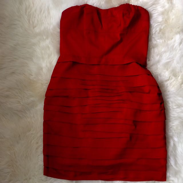Red Strapless Bodycon Dress