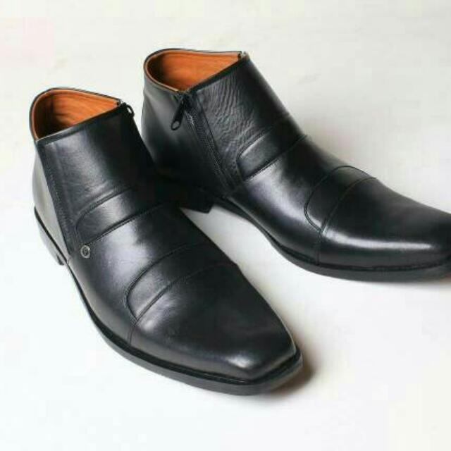 Sepatu Kulit Boots Formal Flavio Avellino Hitam