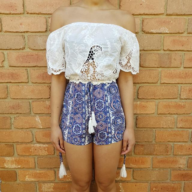 Showpo Lace And Pattern Print Playsuit