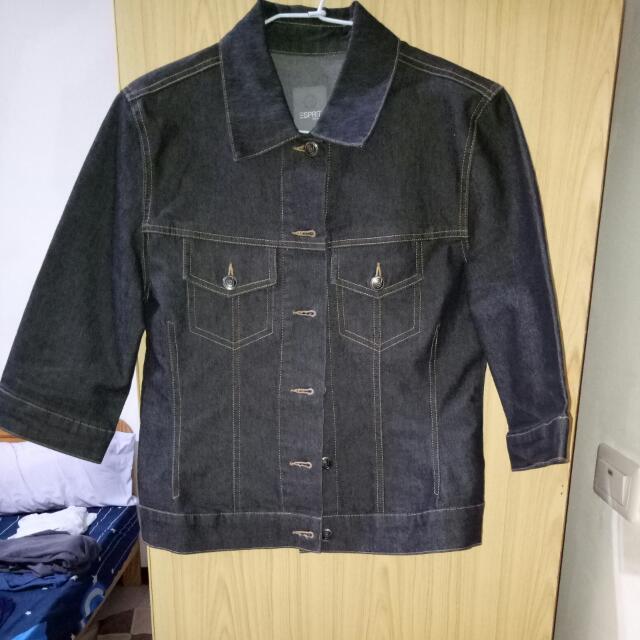 三SPRIT黑色七分袖挺版牛仔外套