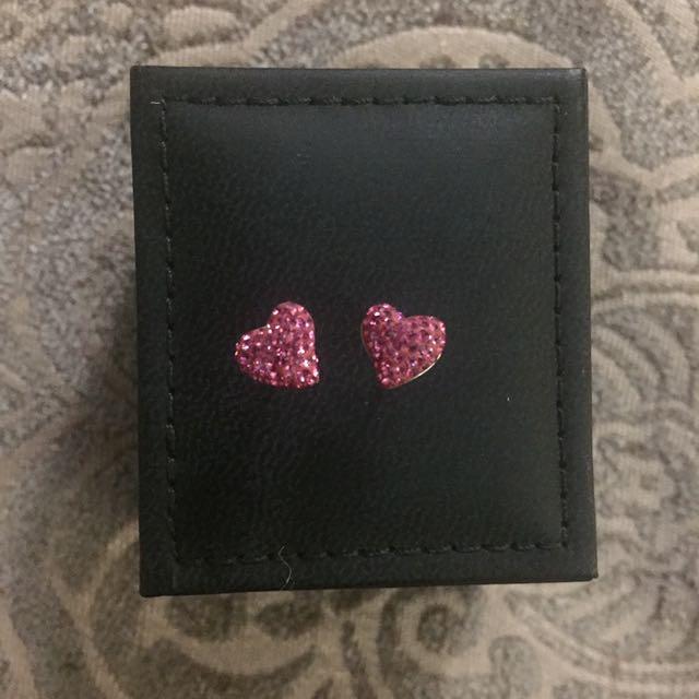 Swarovski Hot Pink Heart Studs