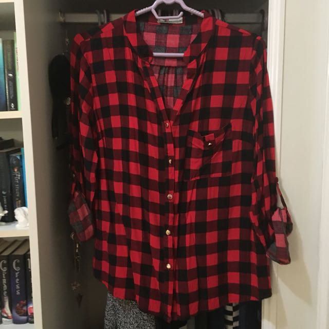 TEMT red/black plaid checkered blouse size 12