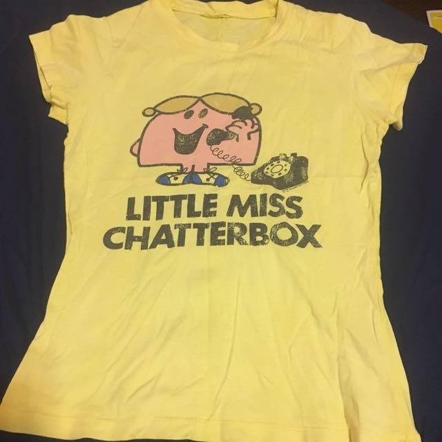 可愛復古黃色卡通塗鴉T-shirt