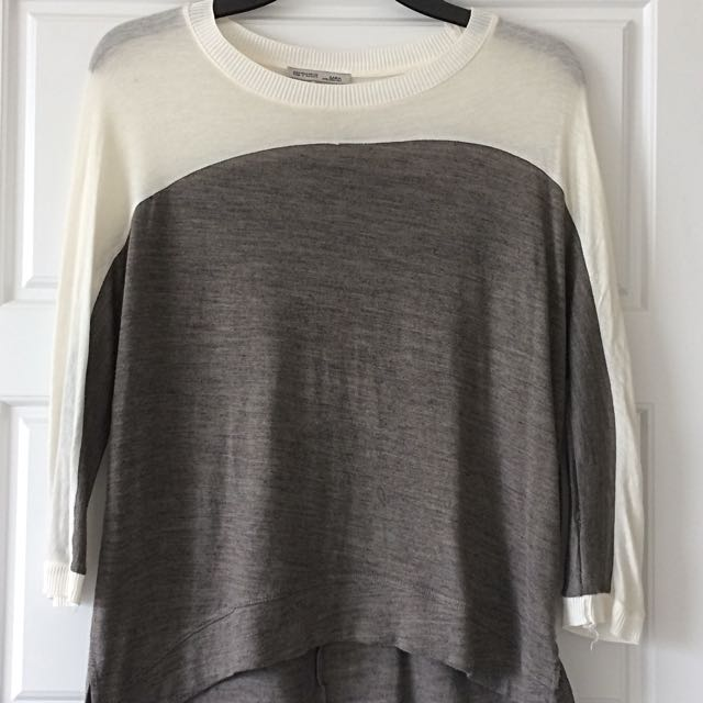 White and Grey Zara Top (S)