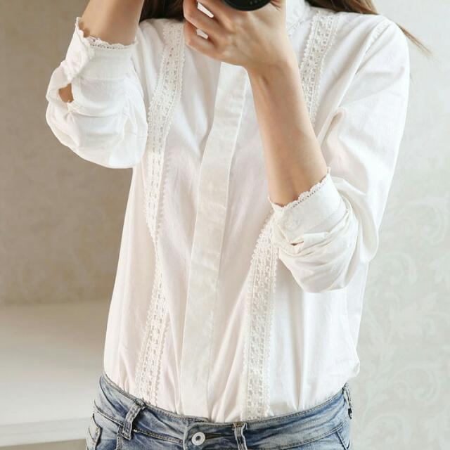 White Long Sleeves OL Shirt With Details