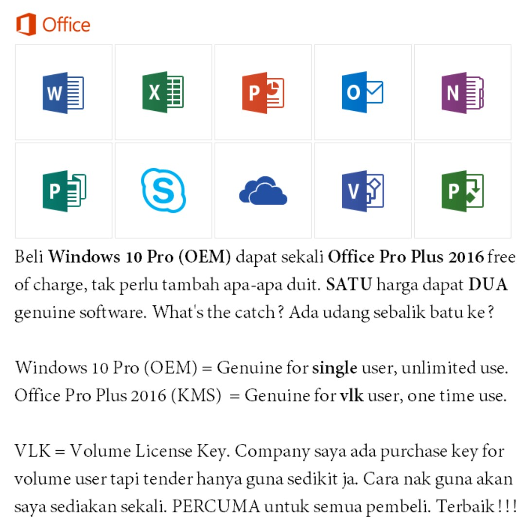 Windows 10 Pro 32bit 64bit (OEM) - FREE Microsoft Office Professional Plus  2016 (VLK)