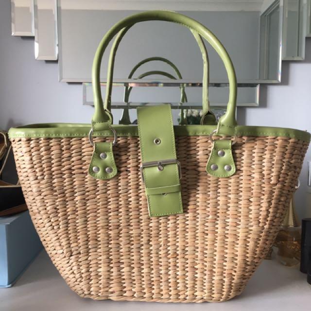 Women's Straw Beach Tote Bag