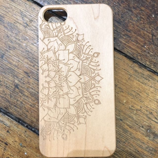 Wooden Phone Case Engraved Mandala Samsung S5 & S7, iPhone 6 6s 6plus 7 7plus