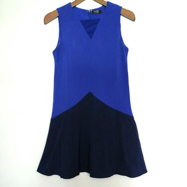 Zalora Blue Two-tone Dress - Preloved