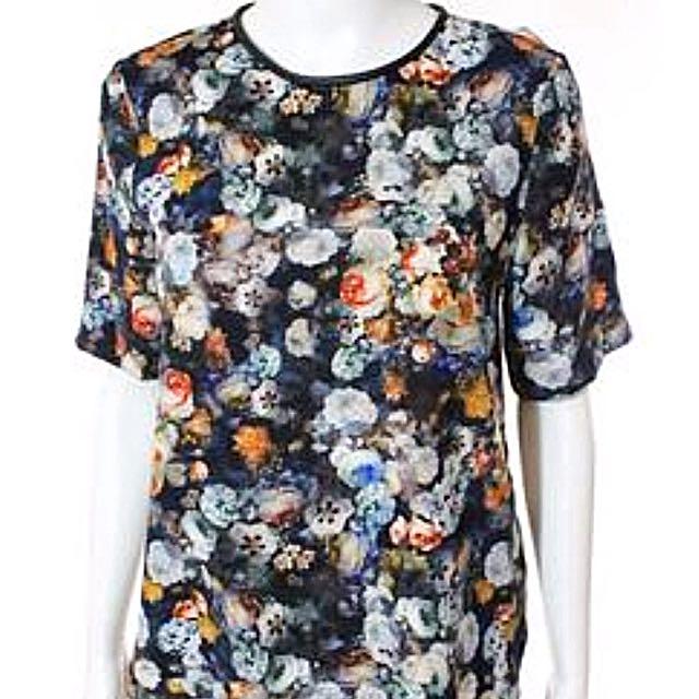 Zara Floral Print Short Sleeve Blouse (S)
