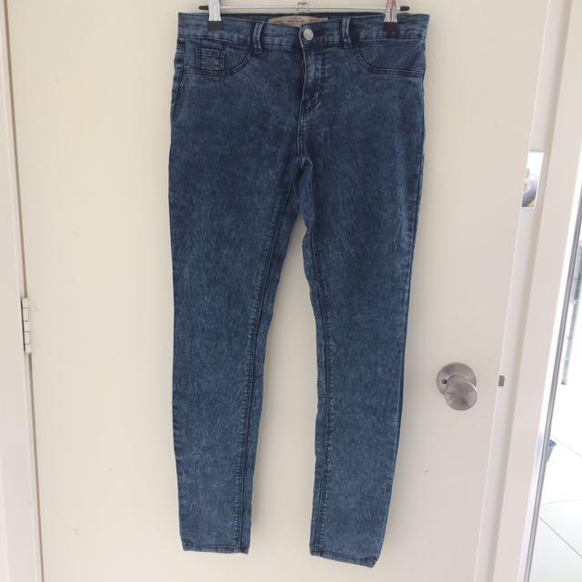 Zara washed denim jeggings size US4