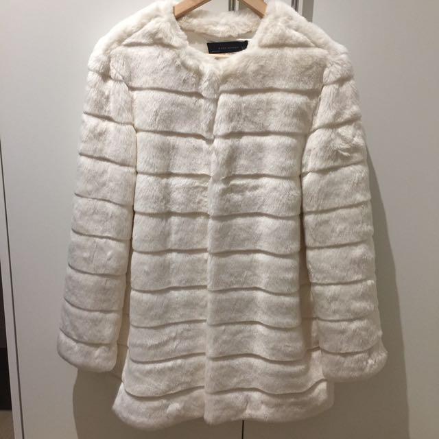 Zara White Fur Coat
