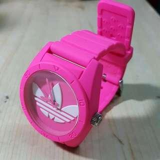 Adidas Originals 螢光粉紅 sharp shocking pink 白色三葉logo 矽膠手錶 運動 行街襯衫 silicon watch