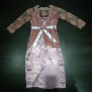 Dusty Pink Lace Satin Girl Modern Kebaya With Cute Ribbon