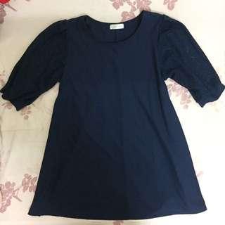 🚚 二手/深藍色蓬蓬袖洋裝 #一百元洋裝