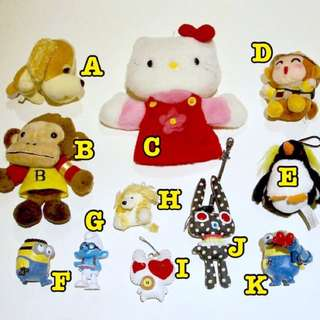 Kids Toys, Hello Kitty Puppet, Key ring, Happy Meal, Dolls, Minions, Smurfs, Dog, Monkey, Penguin, Rabbit