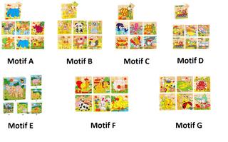 Mainan Puzzle block kayu 6 in 1 anak edukasi gambar binatang - AHM066