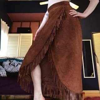 Vintage Suede Fringe Skirt Hippie BoHo Chic