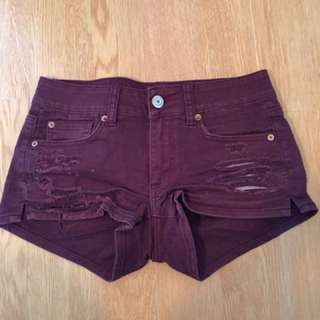 American Eagle Burgundy Shorts