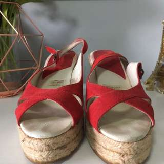 MIDAS Women's Red Suede Wedges Size 8