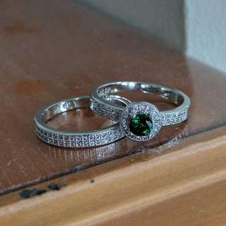 Beautiful Emerald W/ CZ Engagement Ring Set