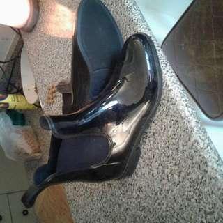 Black Rain Boots Size 9