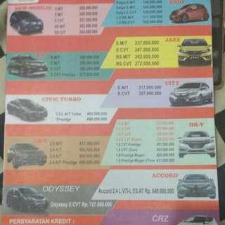 Jual Macam Macam Mobil Honda Only Baru, harga termurah karna dari Honda nya langsung