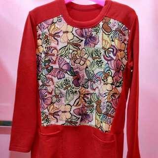 Longshirt Red Butterfly Edisi Cuci Gudang