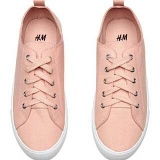 H&M TWILL TRAINERS SNEAKERS (PEACH)