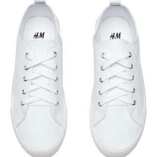 H&M TWILL TRAINERS SNEAKERS (WHITE)
