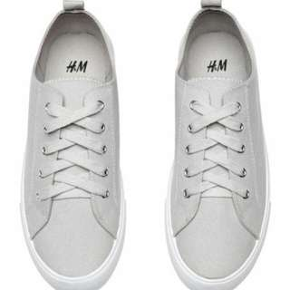 H&M TWILL TRAINERS SNEAKERS (GREY)