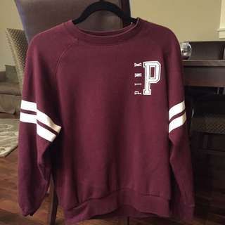 Maroon Victoria's Secret Pink Crew neck