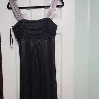 Formal sliver and black dress.