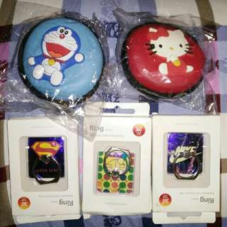 Doraemon And Hello Kitty Coin Purse Superman, Doraemon, Nike Cellphone Ring Buy Each For 120. But If You Purchase Worth 3k Up Any Of My Products Its Free 1pc Hurry Up Promo Until May 30. Thank You!