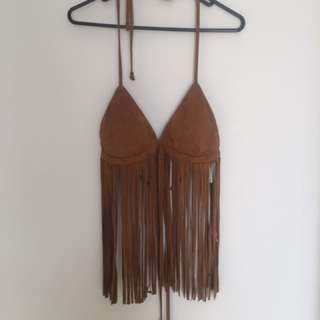 New Size 12 Dotty Brown Fringe Top