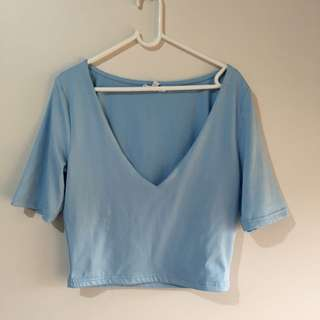 Low Cut Crop In Baby Blue