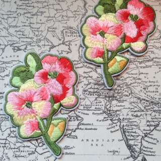 Embroidered Patches- Set Of Two Flowers
