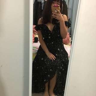 Angel Biba Stars Moon Print Maxi Dress