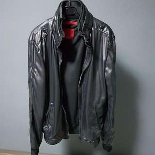 Zara Black Leather Jacket With Collar