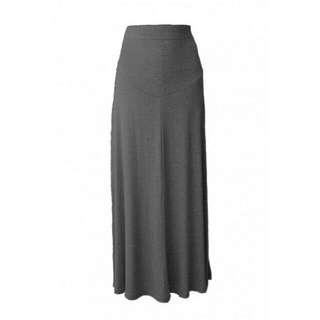 Simple Plain Maternity Long Skirt – Grey