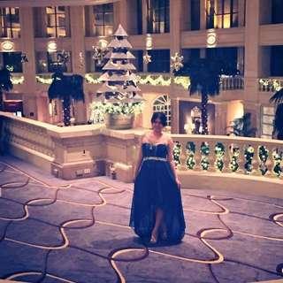 Royal blue mullet gown