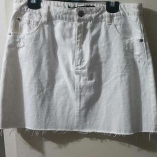 White Denim Skirt (Size 12)