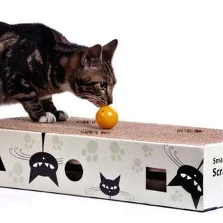 SCRATCH & MAZE CORRUGATED CAT SCRATCH BOX WITH HOLES AND BALLS, CATNIP INCLUDED