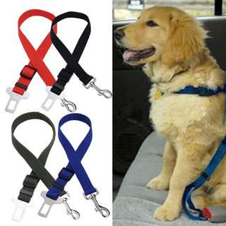 ADJUSTABLE PET CAR VEHICLE SAFETY SEAT BELT, PINK, BLUE AND YELLOW