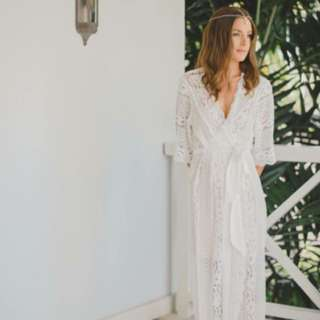 White Lace Bridal Robe S/M