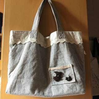Grey Cloth Bag 灰色側揹布袋